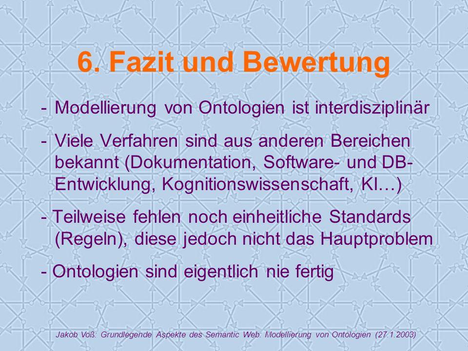Jakob Voß: Grundlegende Aspekte des Semantic Web: Modellierung von Ontologien (27.1.2003) 6.