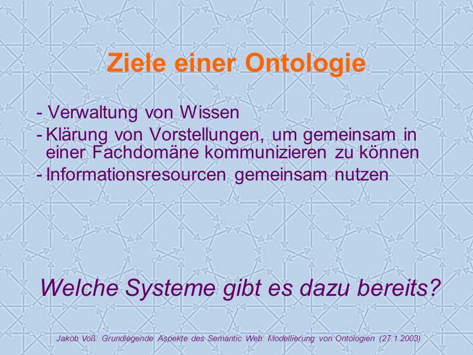 Jakob Voß: Grundlegende Aspekte des Semantic Web: Modellierung von Ontologien (27.1.2003) Ziele einer Ontologie - Verwaltung von Wissen -Klärung von Vorstellungen, um gemeinsam in einer Fachdomäne kommunizieren zu können -Informationsresourcen gemeinsam nutzen Welche Systeme gibt es dazu bereits