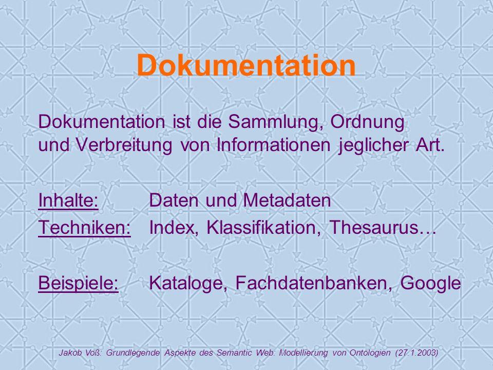 Jakob Voß: Grundlegende Aspekte des Semantic Web: Modellierung von Ontologien (27.1.2003) Dokumentation Dokumentation ist die Sammlung, Ordnung und Verbreitung von Informationen jeglicher Art.