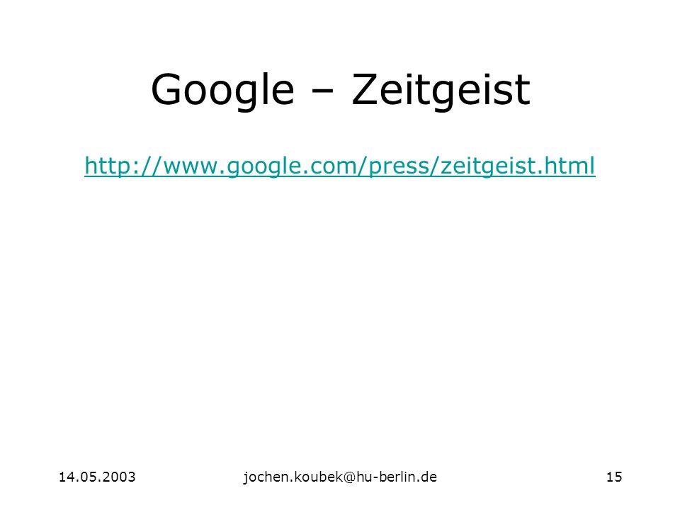 14.05.2003jochen.koubek@hu-berlin.de15 Google – Zeitgeist http://www.google.com/press/zeitgeist.html