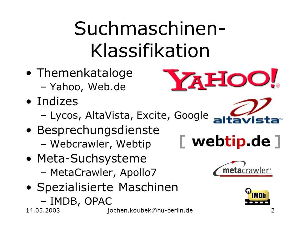 14.05.2003jochen.koubek@hu-berlin.de2 Suchmaschinen- Klassifikation Themenkataloge –Yahoo, Web.de Indizes –Lycos, AltaVista, Excite, Google Besprechungsdienste –Webcrawler, Webtip Meta-Suchsysteme –MetaCrawler, Apollo7 Spezialisierte Maschinen –IMDB, OPAC
