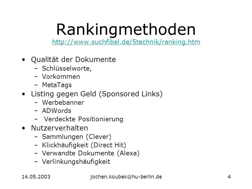 14.05.2003jochen.koubek@hu-berlin.de4 Rankingmethoden http://www.suchfibel.de/5technik/ranking.htm http://www.suchfibel.de/5technik/ranking.htm Qualität der Dokumente –Schlüsselworte, –Vorkommen –MetaTags Listing gegen Geld (Sponsored Links) –Werbebanner –ADWords – Verdeckte Positionierung Nutzerverhalten –Sammlungen (Clever) –Klickhäufigkeit (Direct Hit) –Verwandte Dokumente (Alexa) –Verlinkungshäufigkeit