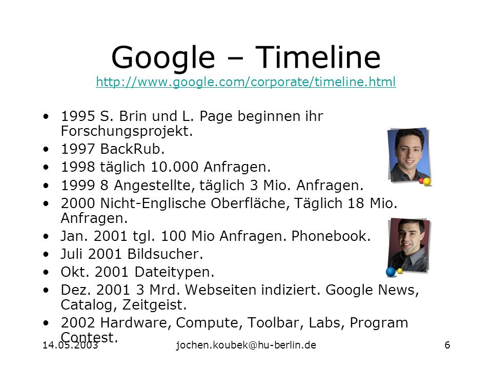 14.05.2003jochen.koubek@hu-berlin.de6 Google – Timeline http://www.google.com/corporate/timeline.html http://www.google.com/corporate/timeline.html 1995 S.