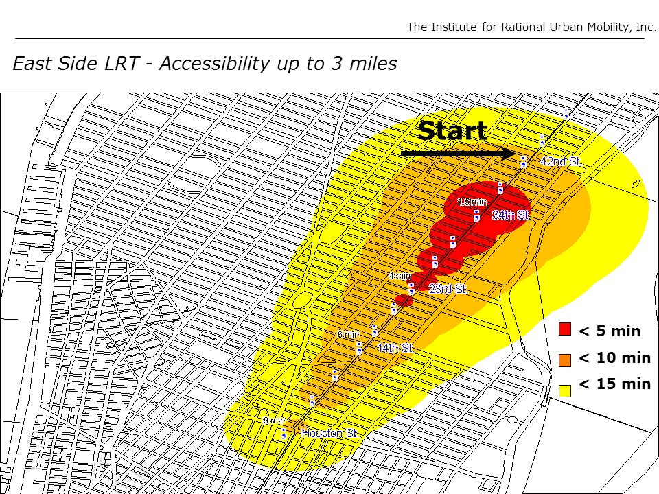 East Side LRT - Accessibility up to 3 miles < 5 min < 10 min < 15 min Start The Institute for Rational Urban Mobility, Inc.