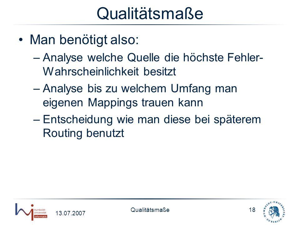 13.07.2007 Qualitätsmaße18 Qualitätsmaße Man benötigt also: –Analyse welche Quelle die höchste Fehler- Wahrscheinlichkeit besitzt –Analyse bis zu welc