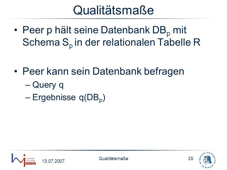 13.07.2007 Qualitätsmaße20 Qualitätsmaße Peer p hält seine Datenbank DB p mit Schema S p in der relationalen Tabelle R Peer kann sein Datenbank befrag
