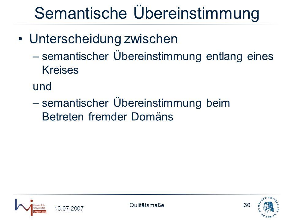 13.07.2007 Qulitätsmaße30 Semantische Übereinstimmung Unterscheidung zwischen –semantischer Übereinstimmung entlang eines Kreises und –semantischer Üb