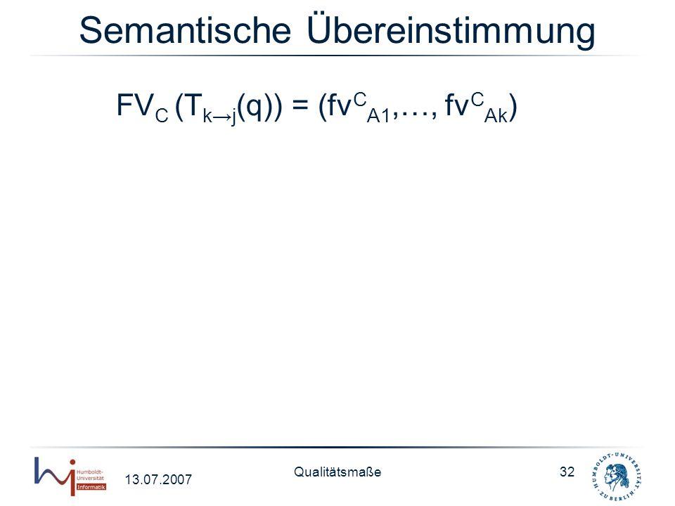 13.07.2007 Qualitätsmaße32 Semantische Übereinstimmung FV C (T kj (q)) = (fv C A1,…, fv C Ak )