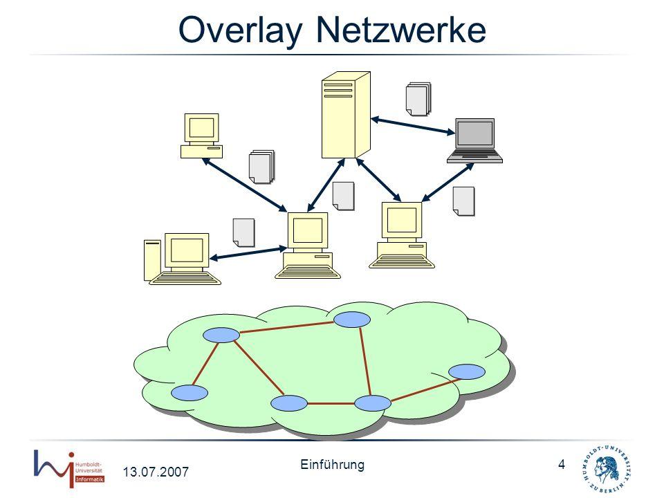 13.07.2007 Einführung5 Peer Data Management System allgemein sind PDMS Netzwerk von Informationssystemen Bestandteile –Mappings –Peers P1P1 P2P2 P4P4 P3P3 Mappings