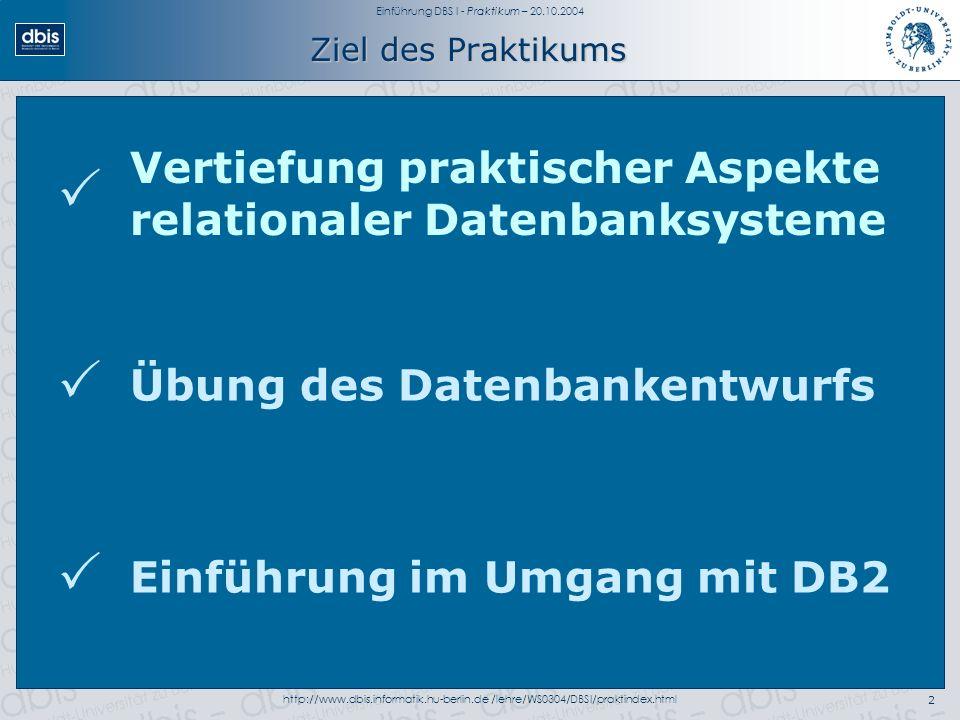 Einführung DBS I - Praktikum – 20.10.2004 http://www.dbis.informatik.hu-berlin.de /lehre/WS0304/DBSI/praktindex.html2 Ziel des Praktikums Übung des Datenbankentwurfs Vertiefung praktischer Aspekte relationaler Datenbanksysteme Einführung im Umgang mit DB2