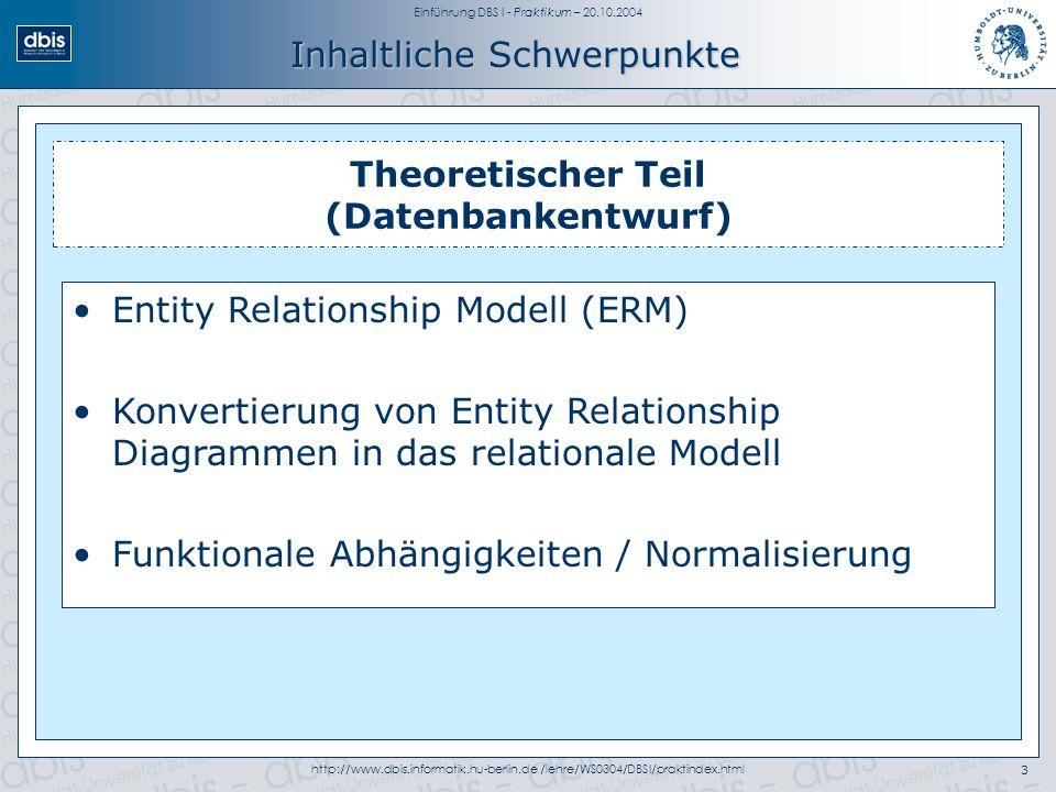 Einführung DBS I - Praktikum – 20.10.2004 http://www.dbis.informatik.hu-berlin.de /lehre/WS0304/DBSI/praktindex.html3 Inhaltliche Schwerpunkte Theoretischer Teil (Datenbankentwurf) Entity Relationship Modell (ERM) Konvertierung von Entity Relationship Diagrammen in das relationale Modell Funktionale Abhängigkeiten / Normalisierung