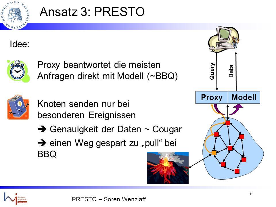5 Ansatz 2: Proxy-zentriert Beispiel: BBQ Vorteile: Nachteile: - Proxy beantwortet Anfragen direkt, solange das - Sonst Anforderung der Daten aus Sensornetz raum-zeitliche Modell ausreicht + im Schnitt schnelle Antwortzeiten + Komplexität im leistungsstarken Proxy - kurze Abweichungen vom Modell können - Energieeffizienz + Datengüte geht nicht übersehen werden Query Data ModellProxy PRESTO – Sören Wenzlaff