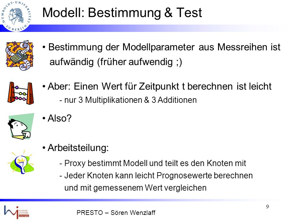 19 Anfrage – Bearbeitung II Modell 1 Cache 1 Query Prozessor ModellNAND Sensor 1 ModellNAND Sensor 2 ModellNAND Sensor 3 Modell 3 Cache 3 Modell 2 Cache 2 Query SELECT temp FROM Nodes WHERE location = ``Lager`` AND time = NOW AND error < 5 Proxy Anforderung des exakten Werts X t * Antwort: X t * = 4 °C PRESTO – Sören Wenzlaff