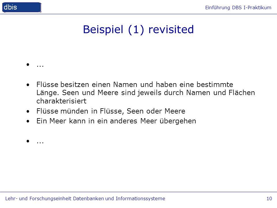 Einführung DBS I-Praktikum Lehr- und Forschungseinheit Datenbanken und Informationssysteme10 Beispiel (1) revisited... Flüsse besitzen einen Namen und