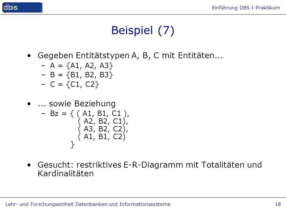 Einführung DBS I-Praktikum Lehr- und Forschungseinheit Datenbanken und Informationssysteme18 Beispiel (7) Gegeben Entitätstypen A, B, C mit Entitäten.