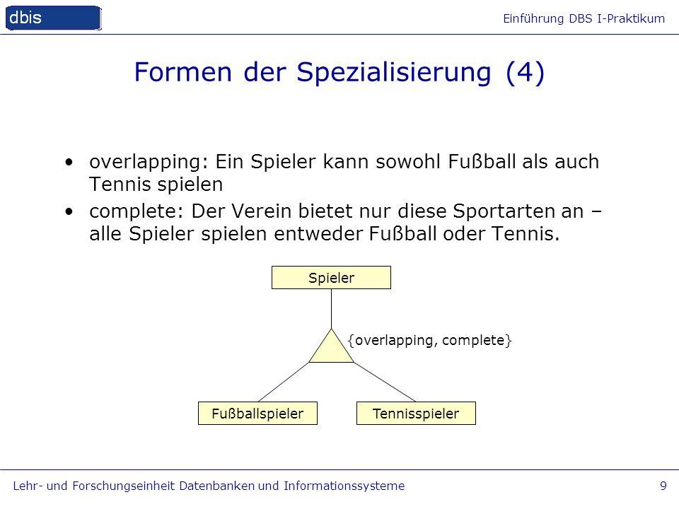 Einführung DBS I-Praktikum Lehr- und Forschungseinheit Datenbanken und Informationssysteme9 Formen der Spezialisierung (4) Fußballspieler Spieler Tenn
