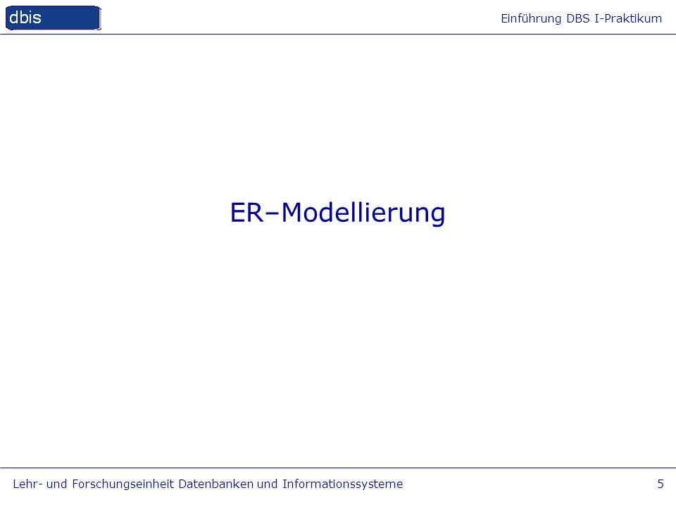 Einführung DBS I-Praktikum Lehr- und Forschungseinheit Datenbanken und Informationssysteme6 Ziele Basiselemente von E-R-Diagrammen kennen Grad, Kardinalität, Teilnahme & min-max- Notation verstehen und anwenden einfache ER-Modelle erstellen