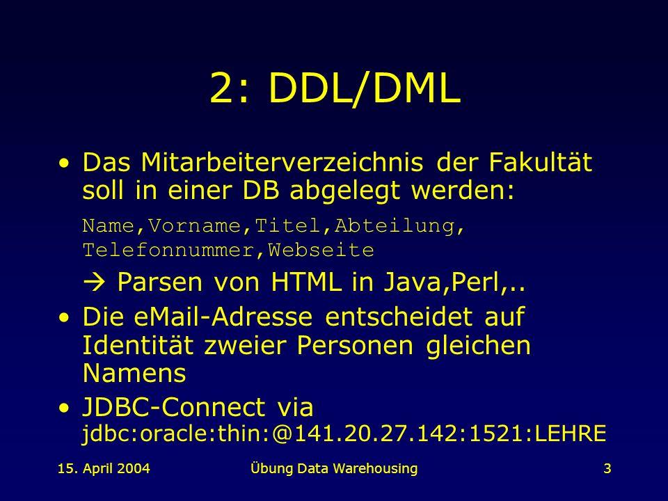 15. April 2004Übung Data Warehousing3 2: DDL/DML Das Mitarbeiterverzeichnis der Fakultät soll in einer DB abgelegt werden: Name,Vorname,Titel,Abteilun
