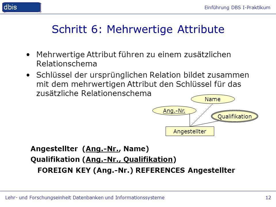 Einführung DBS I-Praktikum Lehr- und Forschungseinheit Datenbanken und Informationssysteme12 Schritt 6: Mehrwertige Attribute Mehrwertige Attribut füh