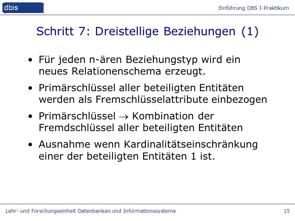 Einführung DBS I-Praktikum Lehr- und Forschungseinheit Datenbanken und Informationssysteme15 Schritt 7: Dreistellige Beziehungen (1) Für jeden n-ären