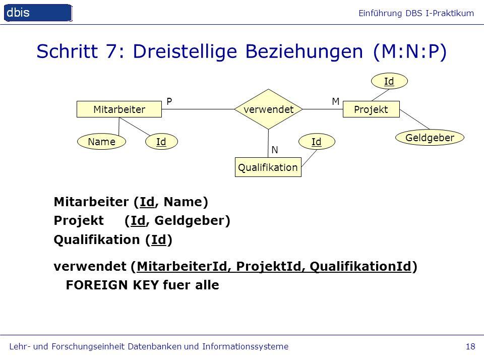 Einführung DBS I-Praktikum Lehr- und Forschungseinheit Datenbanken und Informationssysteme18 Schritt 7: Dreistellige Beziehungen (M:N:P) MitarbeiterPr