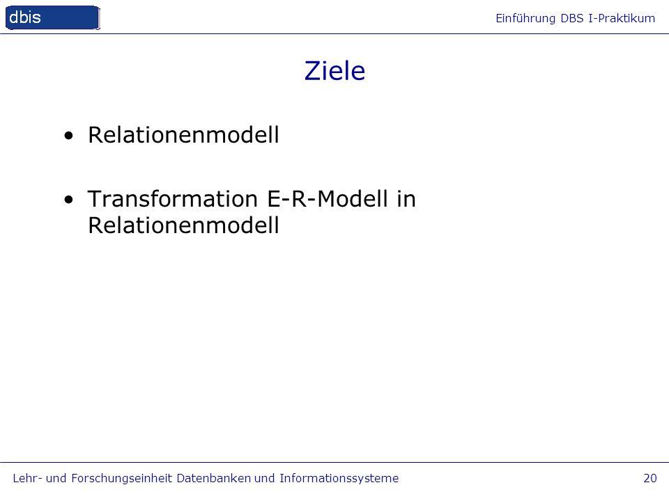 Einführung DBS I-Praktikum Lehr- und Forschungseinheit Datenbanken und Informationssysteme20 Ziele Relationenmodell Transformation E-R-Modell in Relat
