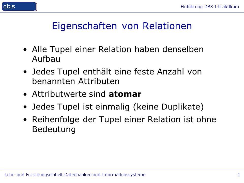 Einführung DBS I-Praktikum Lehr- und Forschungseinheit Datenbanken und Informationssysteme4 Eigenschaften von Relationen Alle Tupel einer Relation hab