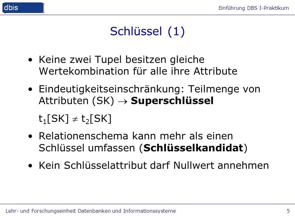 Einführung DBS I-Praktikum Lehr- und Forschungseinheit Datenbanken und Informationssysteme5 Schlüssel (1) Keine zwei Tupel besitzen gleiche Wertekombi