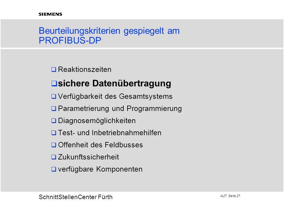 AUT Seite 27 20 SchnittStellenCenter Fürth Beurteilungskriterien gespiegelt am PROFIBUS-DP Reaktionszeiten sichere Datenübertragung Verfügbarkeit des