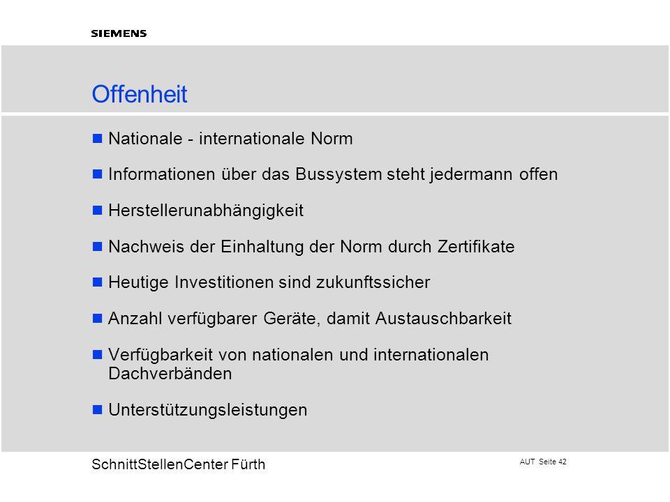 AUT Seite 42 20 SchnittStellenCenter Fürth Offenheit Nationale - internationale Norm Informationen über das Bussystem steht jedermann offen Hersteller
