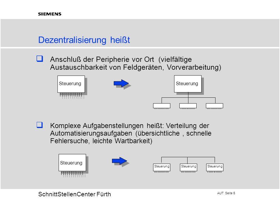 AUT Seite 5 20 SchnittStellenCenter Fürth Dezentralisierung heißt Anschluß der Peripherie vor Ort (vielfältige Austauschbarkeit von Feldgeräten, Vorve