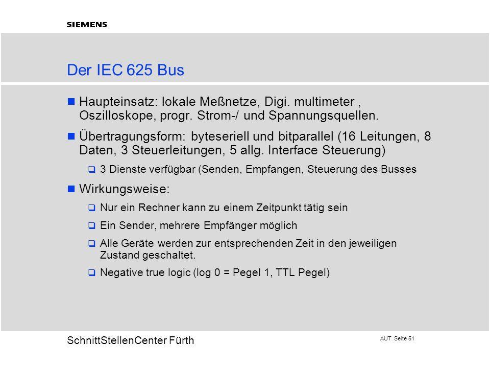 AUT Seite 51 20 SchnittStellenCenter Fürth Der IEC 625 Bus Haupteinsatz: lokale Meßnetze, Digi. multimeter, Oszilloskope, progr. Strom-/ und Spannungs