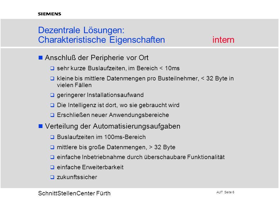 AUT Seite 37 20 SchnittStellenCenter Fürth Diagnosemöglichkeiten Der Anwender erkennt am Programmierplatz - welcher Busteilnehmer - welche Baugruppe - welcher E/A-Punkt ausgefallen ist.