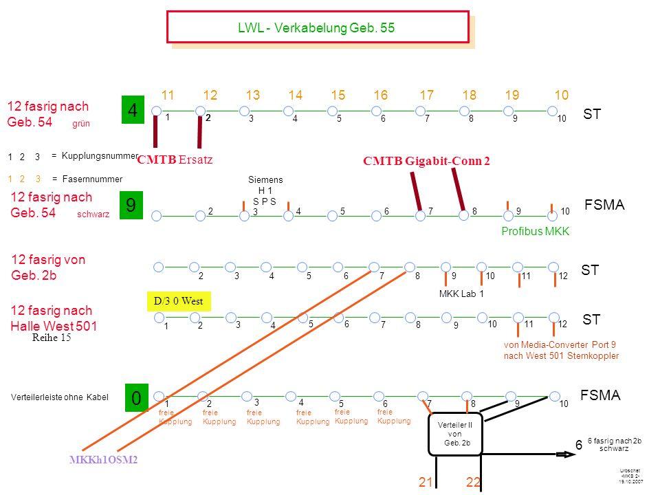 LWL - Verkabelung Geb.55 78910 12 fasrig nach Geb.