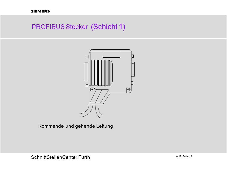 AUT Seite 12 20 SchnittStellenCenter Fürth PROFIBUS Stecker (Schicht 1) Kommende und gehende Leitung