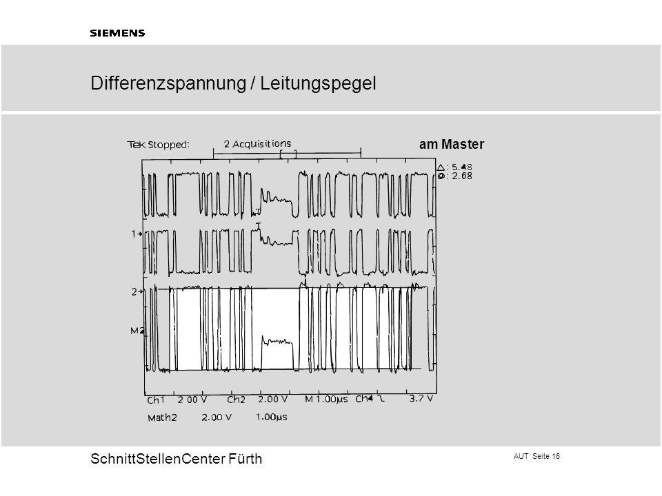 AUT Seite 16 20 SchnittStellenCenter Fürth am Master Differenzspannung / Leitungspegel