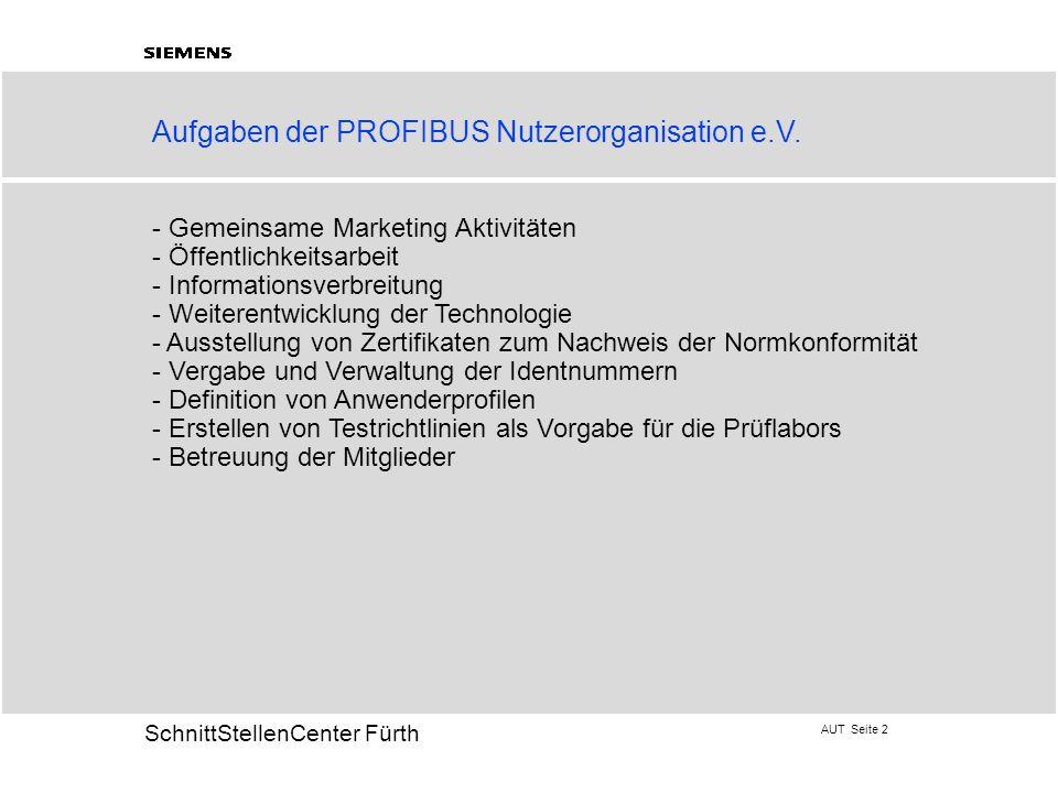 AUT Seite 2 20 SchnittStellenCenter Fürth Aufgaben der PROFIBUS Nutzerorganisation e.V. - Gemeinsame Marketing Aktivitäten - Öffentlichkeitsarbeit - I