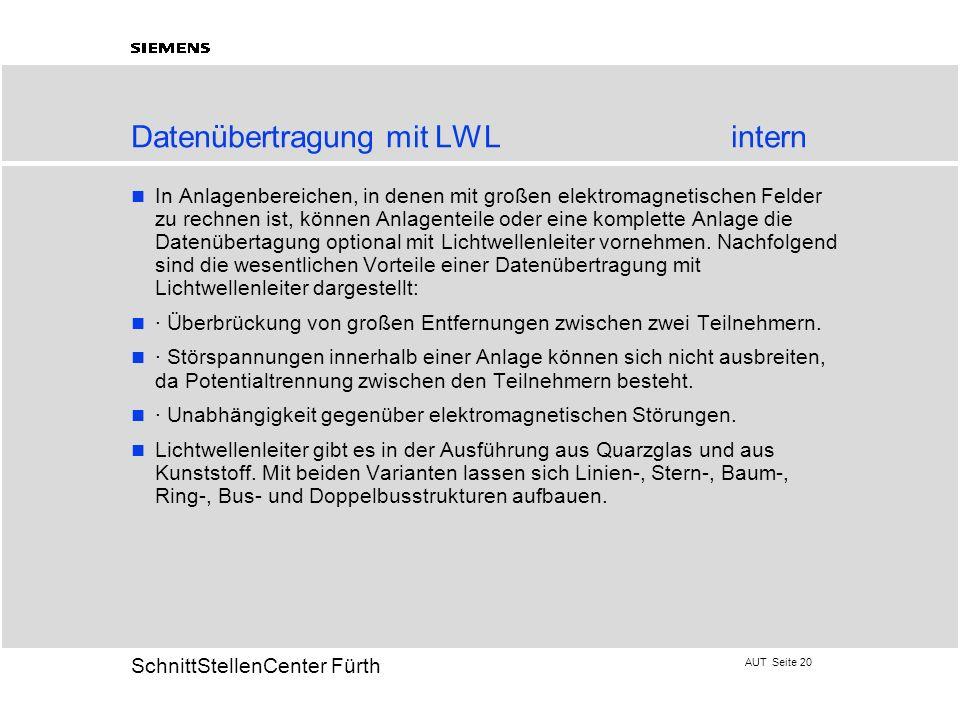 AUT Seite 20 20 SchnittStellenCenter Fürth Datenübertragung mit LWLintern In Anlagenbereichen, in denen mit großen elektromagnetischen Felder zu rechn