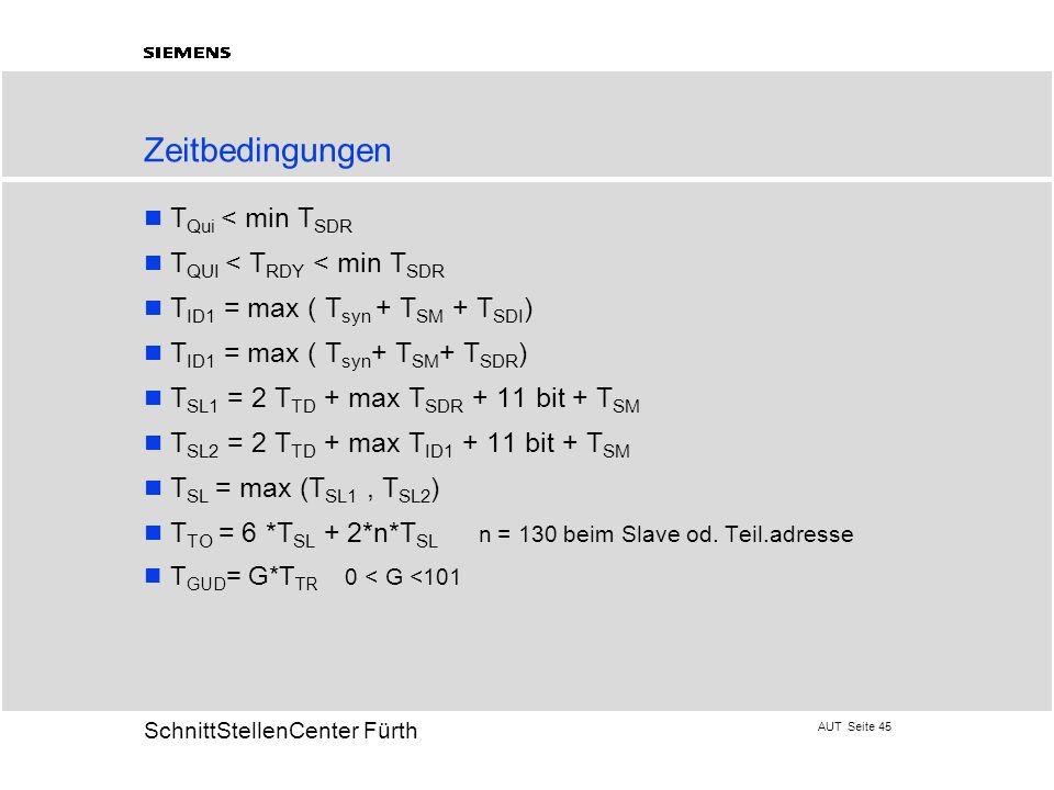 AUT Seite 45 20 SchnittStellenCenter Fürth Zeitbedingungen T Qui < min T SDR T QUI < T RDY < min T SDR T ID1 = max ( T syn + T SM + T SDI ) T ID1 = ma