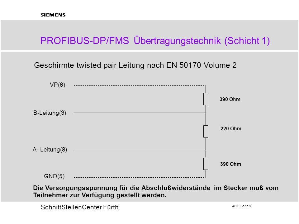 AUT Seite 9 20 SchnittStellenCenter Fürth PROFIBUS-DP/FMS Übertragungstechnik (Schicht 1) Geschirmte twisted pair Leitung nach EN 50170 Volume 2 B-Lei