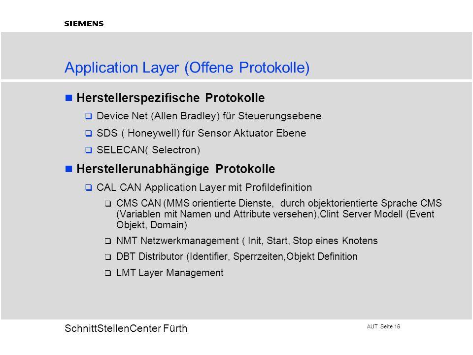 AUT Seite 16 20 SchnittStellenCenter Fürth Application Layer (Offene Protokolle) Herstellerspezifische Protokolle Device Net (Allen Bradley) für Steue