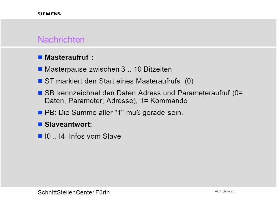 AUT Seite 28 20 SchnittStellenCenter Fürth Nachrichten Masteraufruf : Masterpause zwischen 3.. 10 Bitzeiten ST markiert den Start eines Masteraufrufs