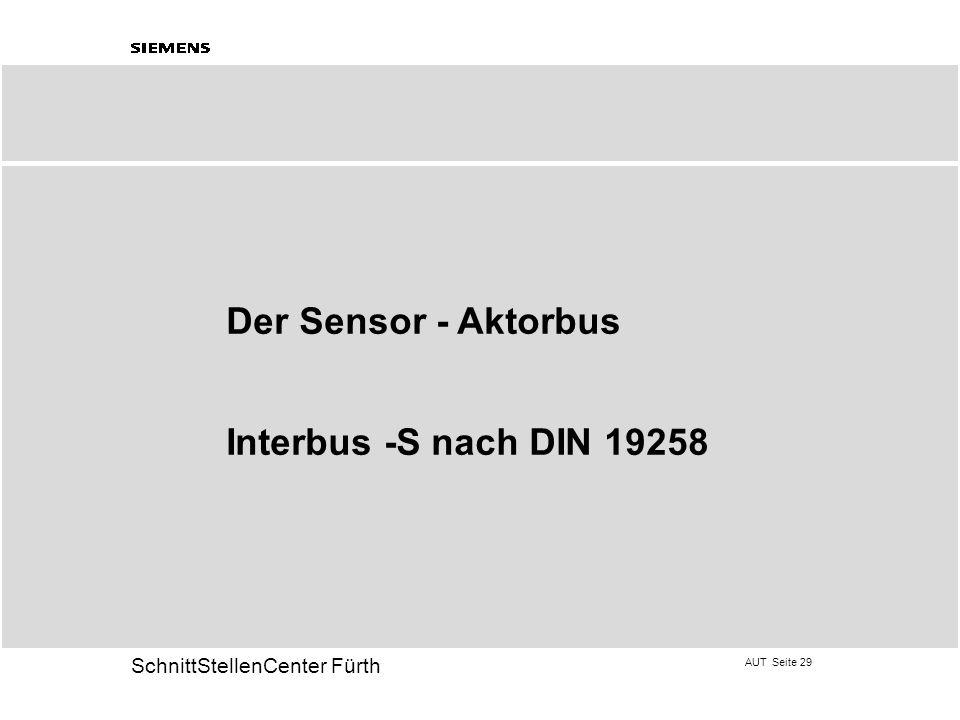 AUT Seite 29 20 SchnittStellenCenter Fürth Der Sensor - Aktorbus Interbus -S nach DIN 19258