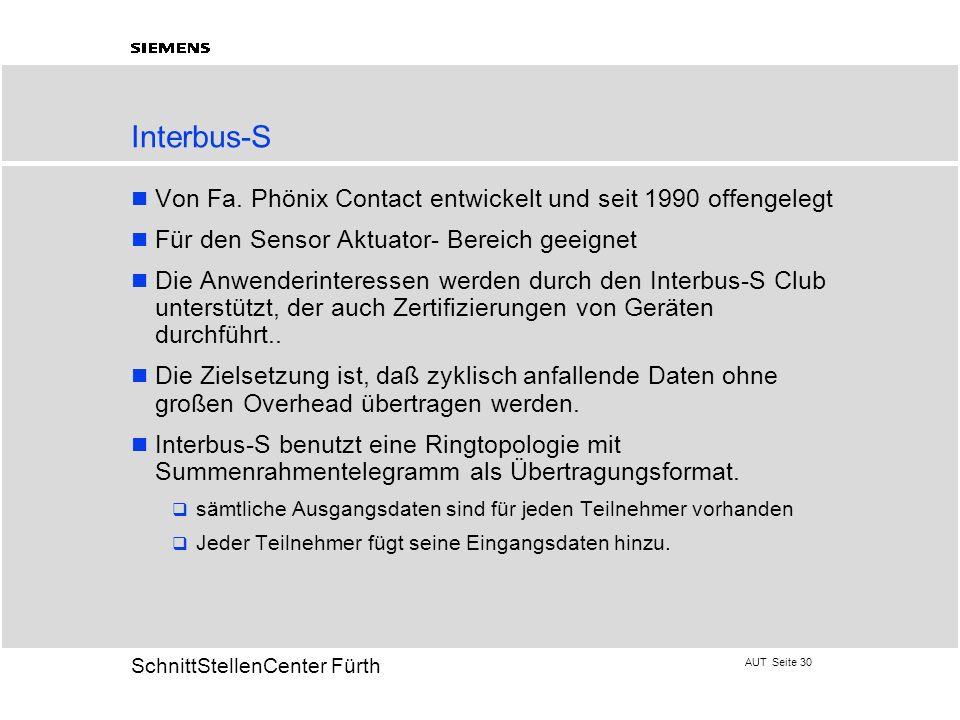 AUT Seite 30 20 SchnittStellenCenter Fürth Interbus-S Von Fa. Phönix Contact entwickelt und seit 1990 offengelegt Für den Sensor Aktuator- Bereich gee