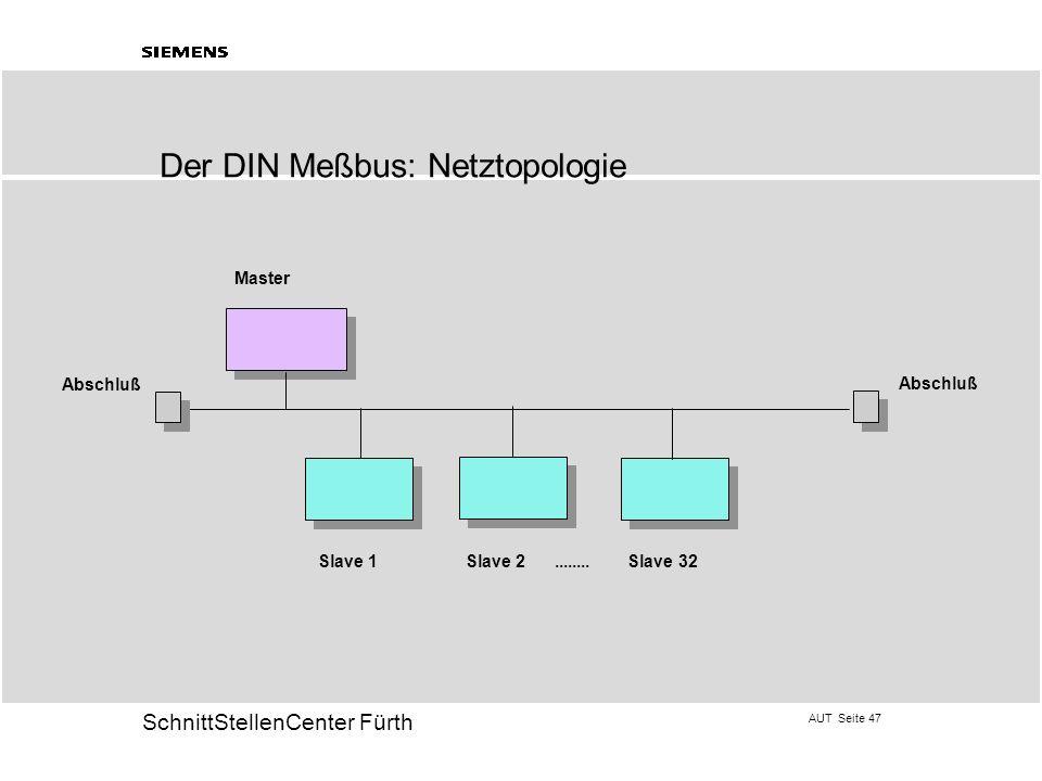 AUT Seite 47 20 SchnittStellenCenter Fürth Der DIN Meßbus: Netztopologie Master Slave 1 Slave 2........ Slave 32 Abschluß