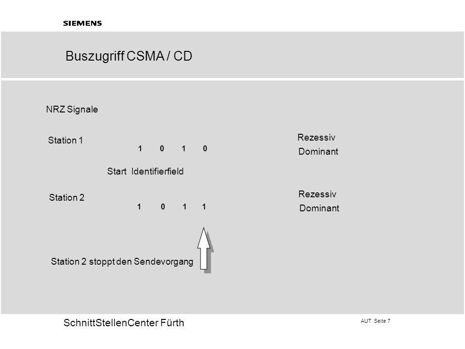 AUT Seite 7 20 SchnittStellenCenter Fürth Rezessiv Dominant Rezessiv Dominant Station 1 Station 2 Start Identifierfield 1 0 1 0 1 1 Station 2 stoppt d