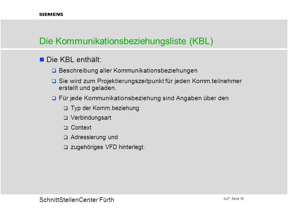 AUT Seite 18 20 SchnittStellenCenter Fürth Die Kommunikationsbeziehungsliste (KBL) Die KBL enthält: Beschreibung aller Kommunikationsbeziehungen Sie w
