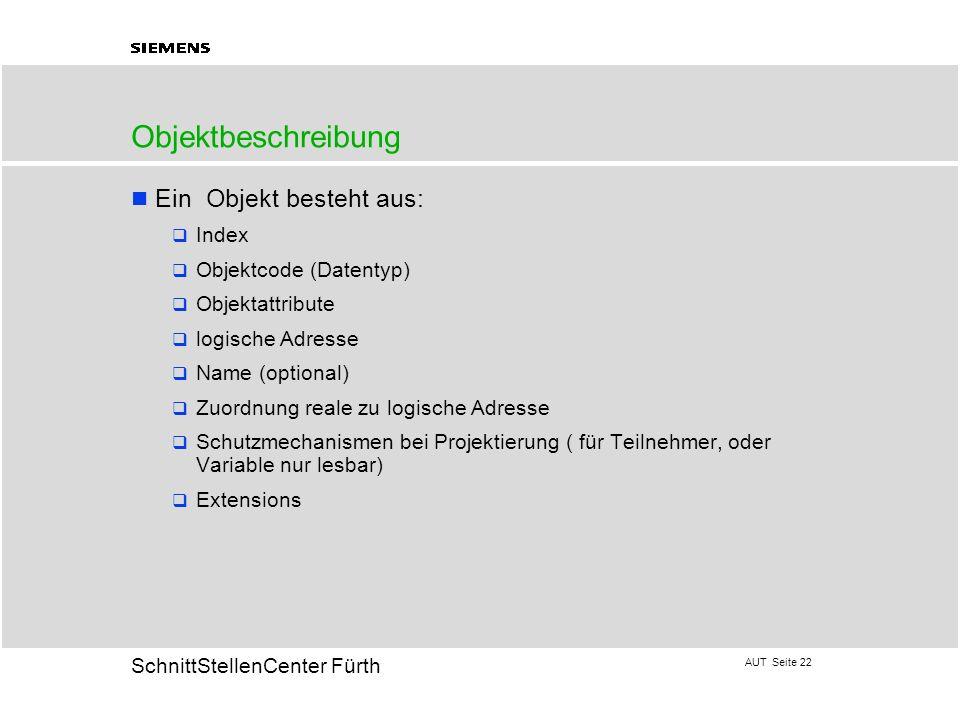 AUT Seite 22 20 SchnittStellenCenter Fürth Objektbeschreibung Ein Objekt besteht aus: Index Objektcode (Datentyp) Objektattribute logische Adresse Nam