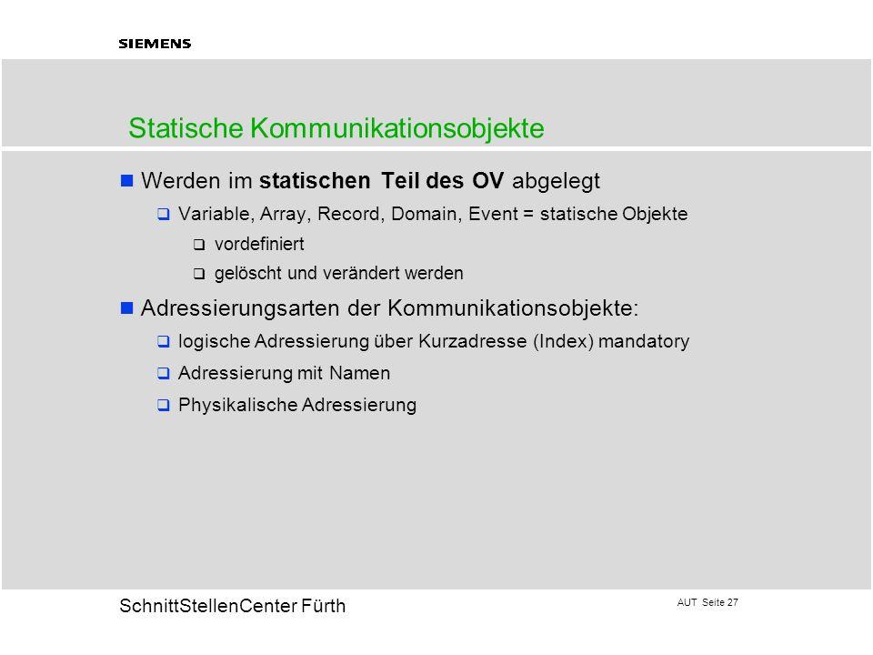 AUT Seite 27 20 SchnittStellenCenter Fürth Werden im statischen Teil des OV abgelegt Variable, Array, Record, Domain, Event = statische Objekte vordef
