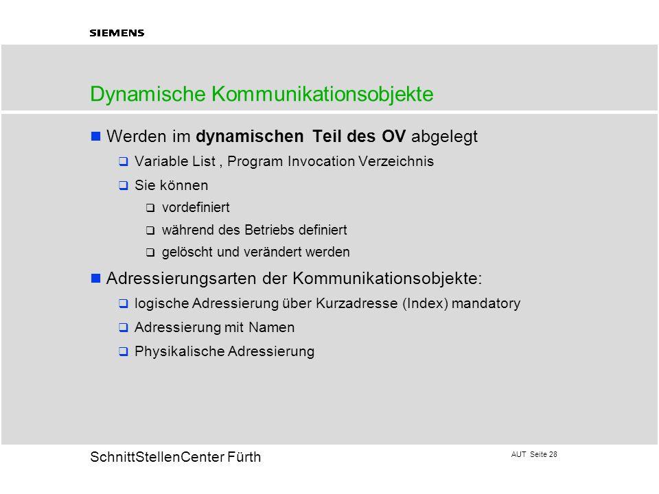 AUT Seite 28 20 SchnittStellenCenter Fürth Dynamische Kommunikationsobjekte Werden im dynamischen Teil des OV abgelegt Variable List, Program Invocati